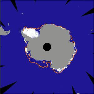3月1日の南極域の海氷(白い部分)。オレンジ色の線は2000年代の同時期の平均的な海氷の広がり(極地研、JAXA提供)