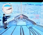 「南極観測船ふじ」一新 4面大型スクリーンで航海体感