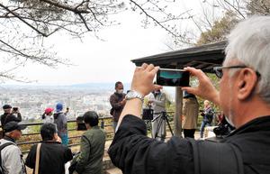 巨椋池があった方向を向き、スマートフォンなどに映った古代の巨椋池を見る人たち=宇治市の大吉山展望台