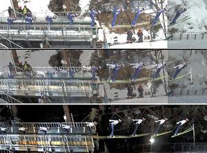 伊藤有希のジャンプを横から撮影した連続写真。上は今年3月、下は昨年3月に撮影。中は二つの写真を重ねたもの。飛び出し直後は前傾姿勢が違う。その後の姿勢も、今年は板と体が近づいている=札幌・大倉山ジャンプ競技場、山本敬三教授提供