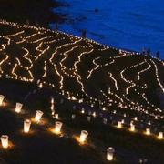 輪島の千枚田に3万本のあかり 能登半島地震10年