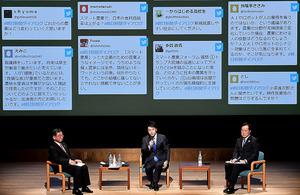 3者対談で意見を交わす(左から)大西茂志氏、小泉進次郎氏、佐藤康博氏=東京・有楽町、伊ケ崎忍撮影