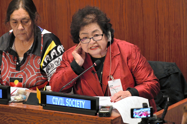 核兵器禁止条約交渉会議で、被爆体験を交えて演説する被爆者のサーロー節子さん=28日、ニューヨークの国連本部、松尾一郎撮影