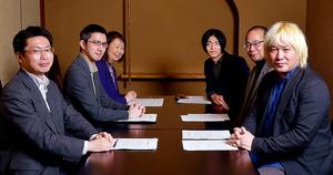 座談会に臨んだ(左から)中北さん、木村さん、赤石さん、小熊さん、井手さん、津田さん(遠藤さんは海外出張のためスカイプで部分参加)=東京・銀座、門間新弥撮影
