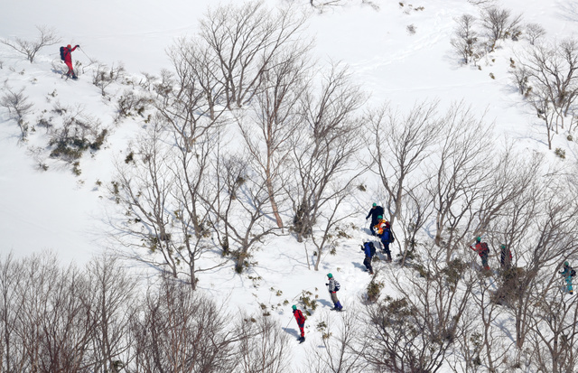 雪崩があった斜面で現場検証する捜査員ら=30日午前9時46分、栃木県那須町、朝日新聞社ヘリから、堀英治撮影