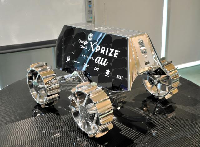 HAKUTOの探査車SORATOの模型=7日、滋賀県米原市、田中誠士撮影