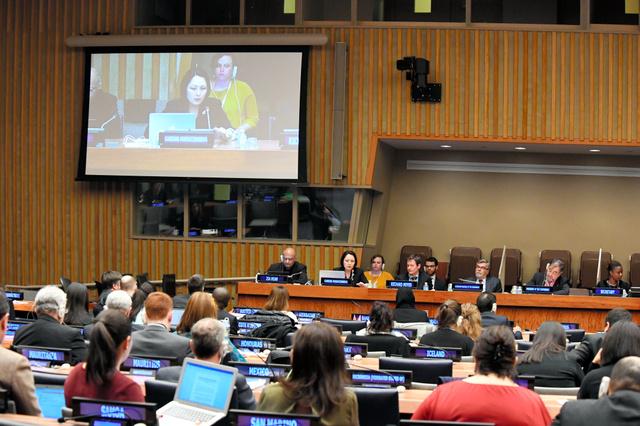 核兵器禁止条約交渉会議の議場の様子=ニューヨークの国連本部、松尾一郎撮影