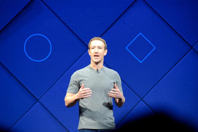 開発者向けのイベントで話すフェイスブックのマーク・ザッカーバーグ氏=18日、米カリフォルニア州サンノゼ、宮地ゆう撮影