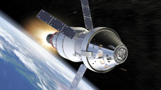 月軌道を目指す新型宇宙船「オリオン」の想像図(米航空宇宙局〈NASA〉提供)