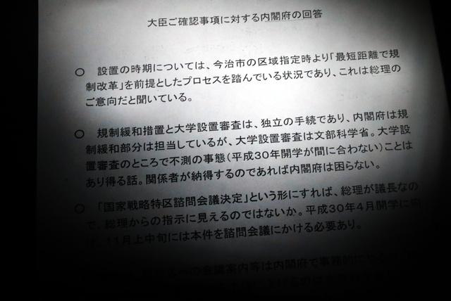 「大臣ご確認事項に対する内閣府の回答」と題された文書