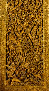 「ラーマ2世王作の大扉」部分=バンコク国立博物館所蔵