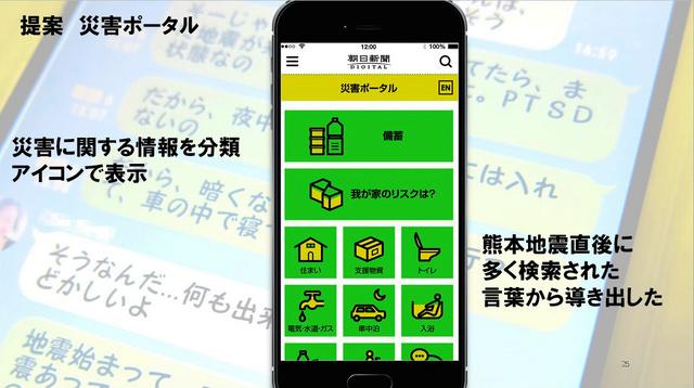 朝日新聞記者チームが提案した災害ポータルサイト=「熊本地震×検索データ 支援・防災にいかすには?」の発表から