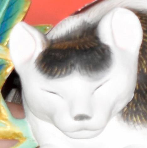 薄目を開けた状態の「眠り猫」=昨年11月28日撮影