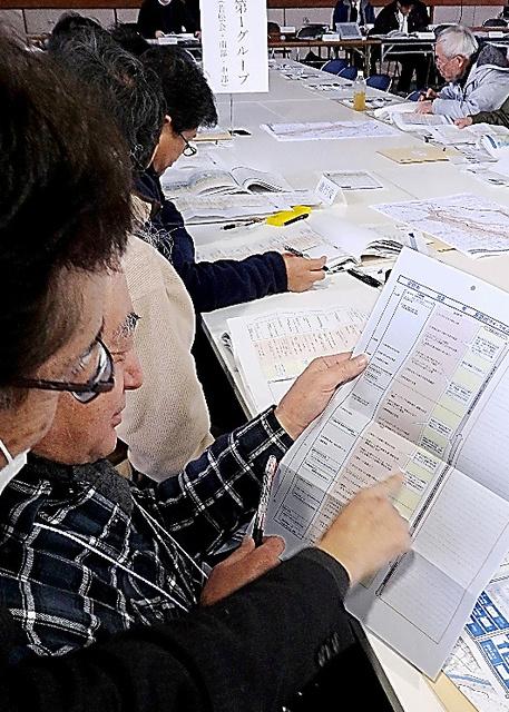 市職員らの指導を受け「マイ・タイムライン」を作る住民たち=2月5日、茨城県常総市