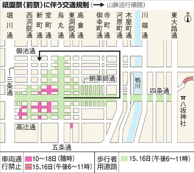 祇園祭(前祭)に伴う交通規制
