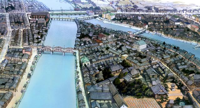 上空から見た旧中島地区(C)こうの史代・双葉社/「この世界の片隅に」製作委員会