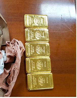 仁川本部税関が押収した金塊の一部(韓国関税庁提供)