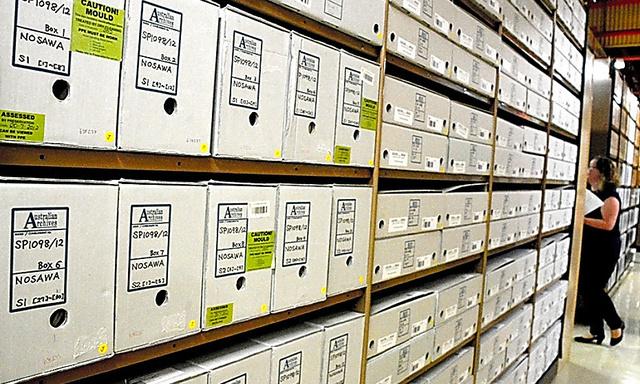 オーストラリア国立公文書館のシドニー分館に保管されている日系企業の戦時接収資料。全部で約3300箱もある