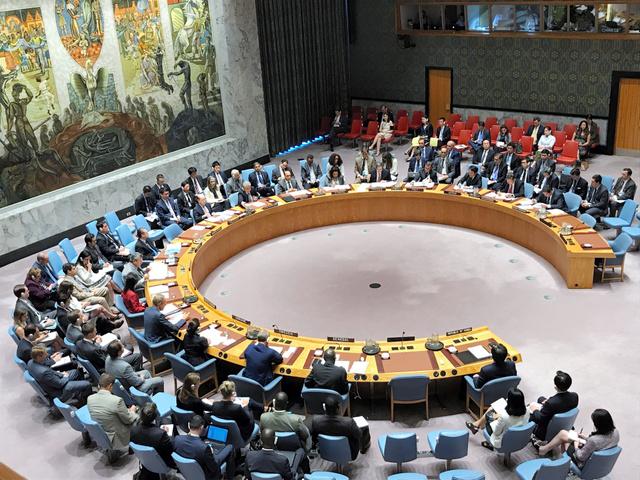 北朝鮮の大陸間弾道ミサイル(ICBM)発射を受け、国連安全保障理事会は公開で緊急会合を開いた=7月5日、米ニューヨークの国連本部、金成隆一撮影