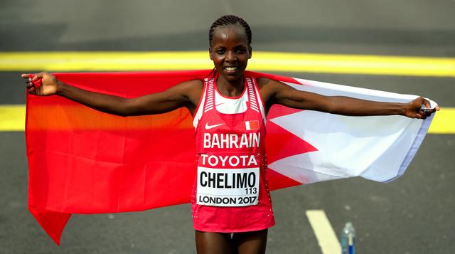 女子マラソンで優勝したチェリモ=池田良撮影