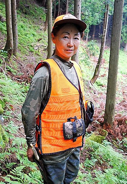 猟師の吉井あゆみさん=兵庫県朝来市
