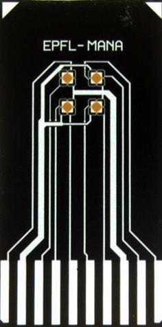 アルコール度数がわかる小型の高度センサー。四つの丸い素子がお酒のにおいを感知すると電気信号を出す。縦10ミリ、横5ミリ=物質・材料研究機構提供