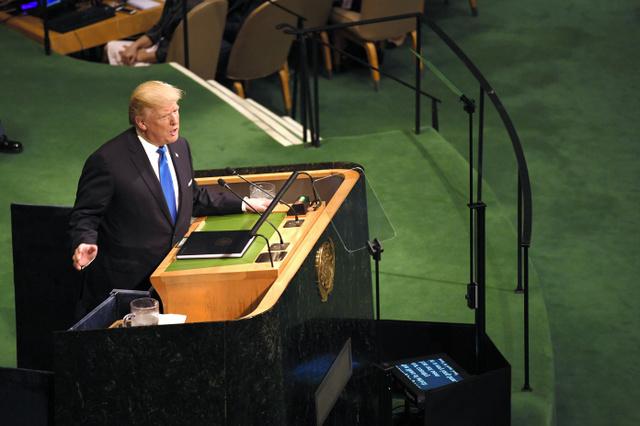 国連総会の一般討論で演説する米国のトランプ大統領=19日午前、米ニューヨークの国連本部、金成隆一撮影