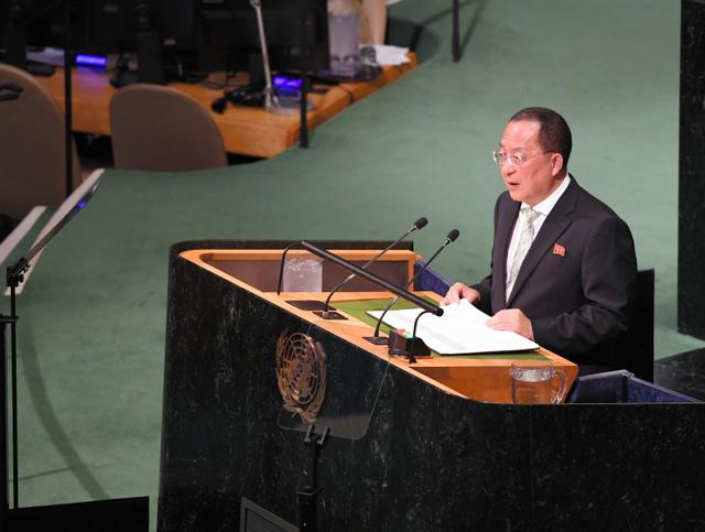 国連総会の一般討論で演説する北朝鮮の李容浩(リヨンホ)外相=23日、米ニューヨークの国連本部、金成隆一撮影