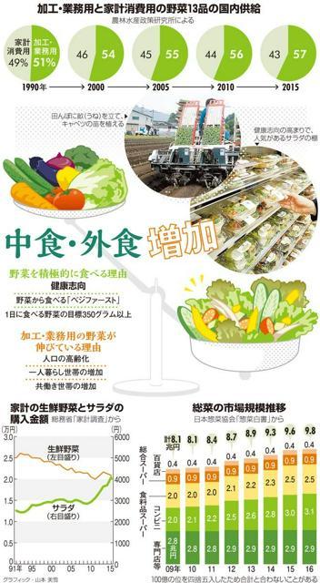 加工・業務用と家計消費用の野菜13品の国内供給/家計の生鮮野菜とサラダの購入金額/総菜の市場規模推移<グラフィック・山本美雪>