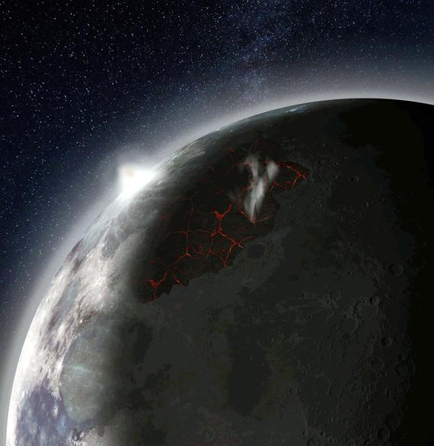 大気に覆われた月面の想像図。噴き出した溶岩からガスが出ている(米航空宇宙局提供)