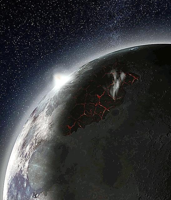 大気に覆われた月面の想像図。噴き出した溶岩からガスが出ている=米航空宇宙局提供