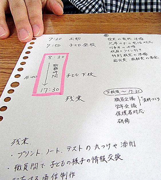 自らメモを書き、忙しすぎる学校生活について説明する小学校教諭=4日、埼玉県