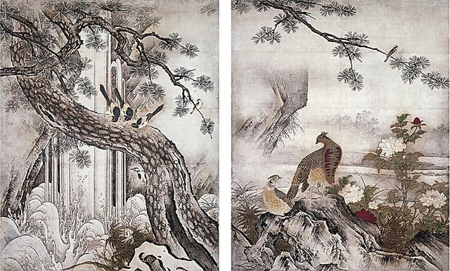 「四季花鳥図」(8幅のうち2幅、室町時代・16世紀、京都・大仙院、重要文化財)
