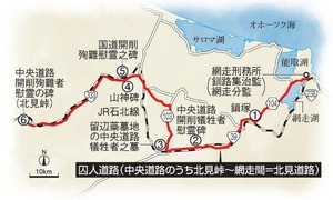 道東の網走市と道北の旭川市を結ぶ228キロの中央道路のうち、網走〜北見峠間の163キロ(北見道路)は「囚人道路」と呼ばれている。