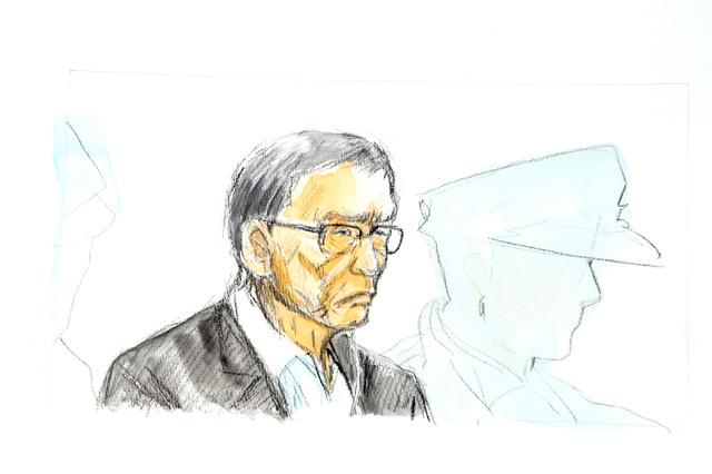 初公判に出廷した野村悟被告=福岡地裁、絵と構成・宮崎志帆