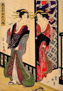 「花あやめ五人揃 廊下」=日本浮世絵博物館蔵