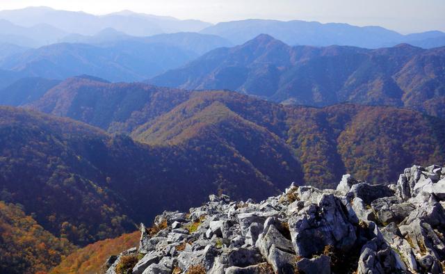 御池岳のボタンブチから見下ろしたT字尾根。交点から左の尾根を下った。交点先のとがった山頂は「天狗堂(てんぐどう)」