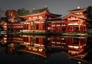 平等院鳳凰堂、錦秋に浮かぶ 修理後初の夜間一般公開