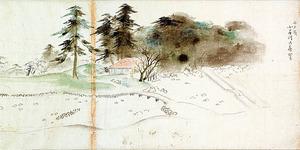狩野養信「水戸様御庭地取図」(部分)=東京国立博物館蔵