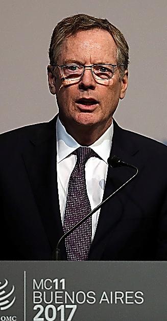 WTO閣僚会合で演説するライトハイザー米通商代表=11日、ロイター