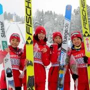 日本女子、初代王者 スキー・ジャンプW杯団体戦