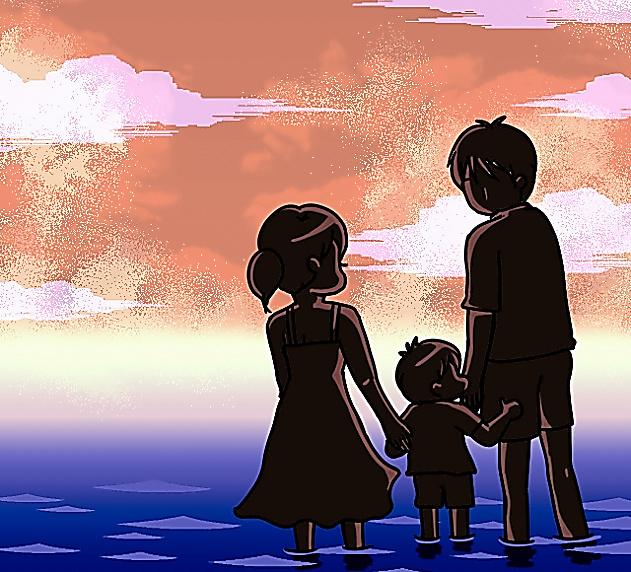 赤星ポテ子さんがブログに載せたイラスト。3人で幸せに生きていくと決意をつづった