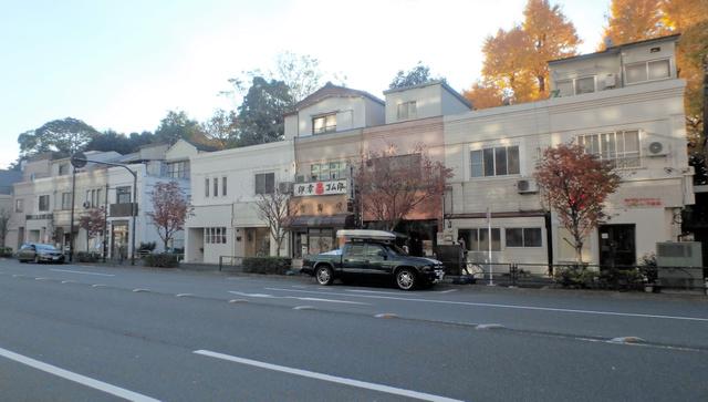 「旧東京市営店舗向住宅」のうしろは広大な清澄庭園だ=東京都江東区清澄