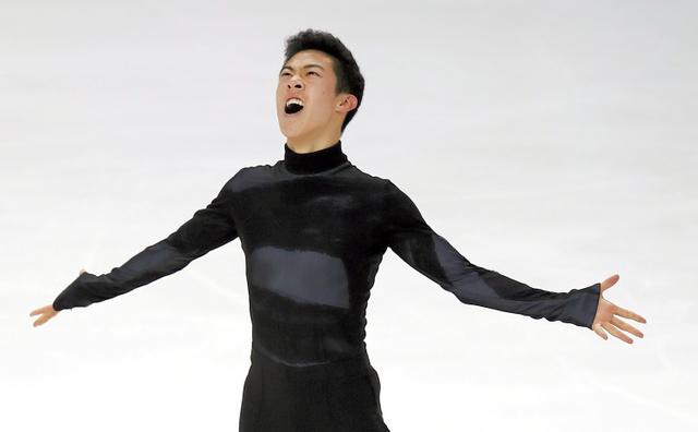 全米選手権の男子フリーで演技するネーサン・チェン=1月6日、AP