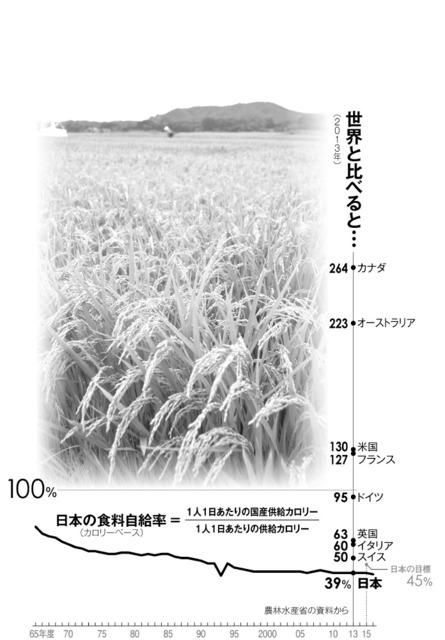 世界と比べると…/日本の食料自給率