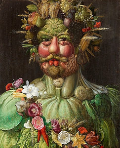 ジュゼッペ・アルチンボルド「ウェルトゥムヌスとしての皇帝ルドルフ2世像」(1591年、スコークロステル城、スウェーデン)