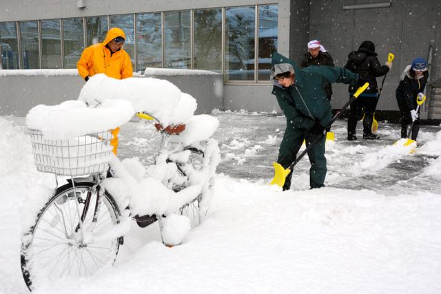 秩父市役所周辺では市職員らが除雪に追われた=2日朝、秩父市