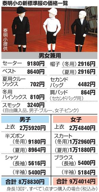 泰明小の新標準服の価格一覧