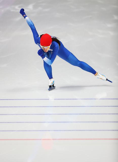 女子500メートルに向け練習に臨む李相花=遠藤啓生撮影