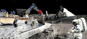 月面での基地建設のイメージ(米航空宇宙局提供)